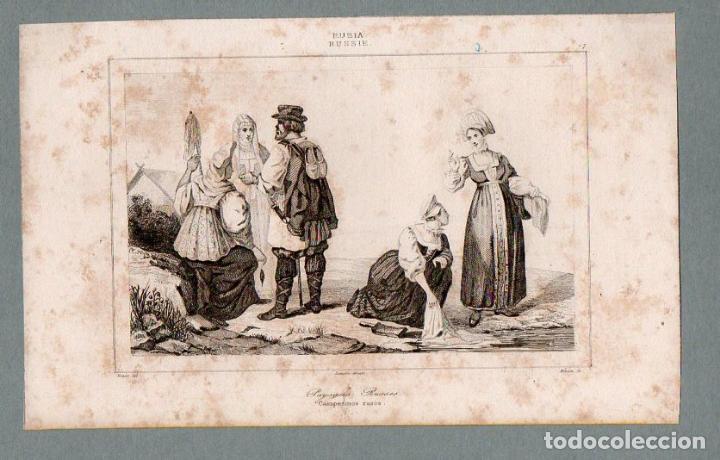 RUSIA - CAMPESINOS - GRABADO LEMAITRE VERNIER MONNIN (Arte - Grabados - Modernos siglo XIX)