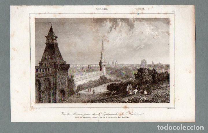 RUSIA - VISTA DE MOSCÚ DESDE LA EXPLANADA DEL KREMLIN - GRABADO LEMAITRE LALAISSE (Arte - Grabados - Modernos siglo XIX)