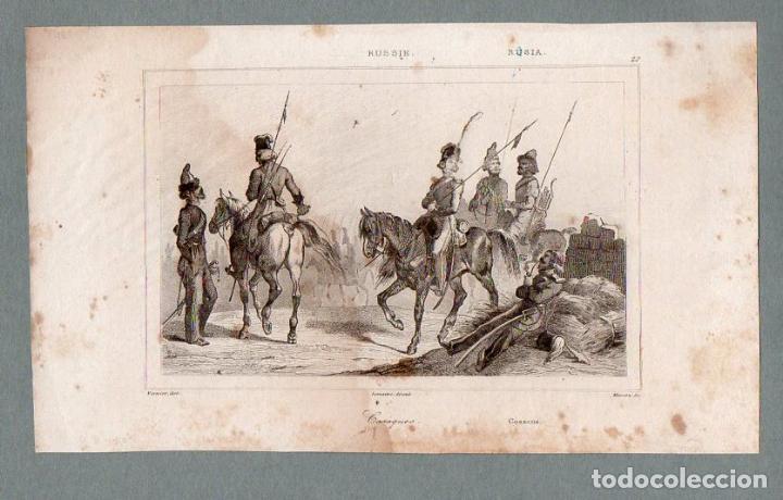 RUSIA - COSACOS - GRABADO LEMAITRE VERNIER MASSON (Arte - Grabados - Modernos siglo XIX)