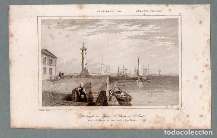SAN PETERSBURGO - FUERTE E IGLESIA DE S. PEDRO Y S. PABLO - GRABADO LEMAITRE CHOLET (Arte - Grabados - Modernos siglo XIX)