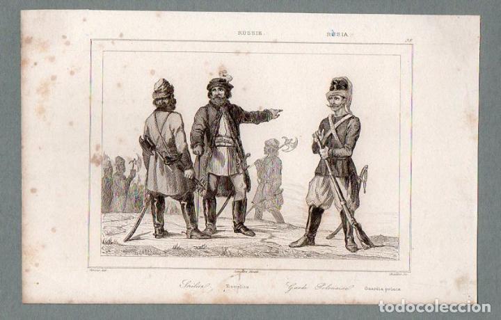 RUSIA - ESTRELITZ - GUARDIA POLACA - GRABADO LEMAITRE VERNIER CHAILLOT (Arte - Grabados - Modernos siglo XIX)