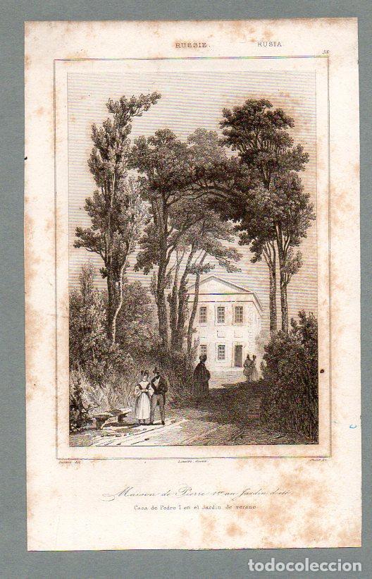 RUSIA - CASA DE PEDRO I EN EL JARDÍN DE VERANO - GRABADO LEMAITRE DANVIN CHOLET (Arte - Grabados - Modernos siglo XIX)