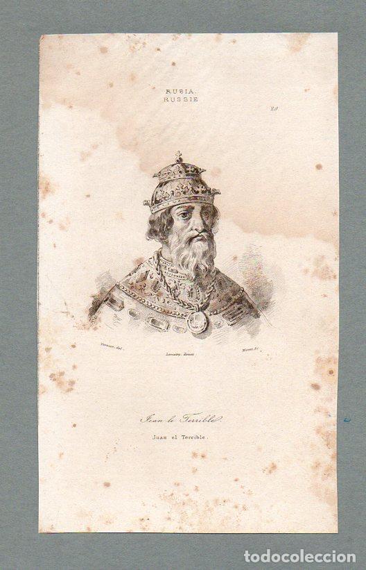 RUSIA - IVAN EL TERRIBLE - GRABADO LEMAITRE VERNIER MORET (Arte - Grabados - Modernos siglo XIX)