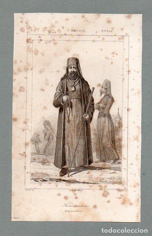 RUSIA - ARCHIMANDRITAS - GRABADO LEMAITRE VERNIER CHAILLOT (Arte - Grabados - Modernos siglo XIX)