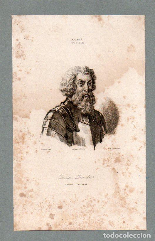 RUSIA - DIMITRI DONSKOI - GRABADO LEMAITRE VERNIER LESUEUR (Arte - Grabados - Modernos siglo XIX)