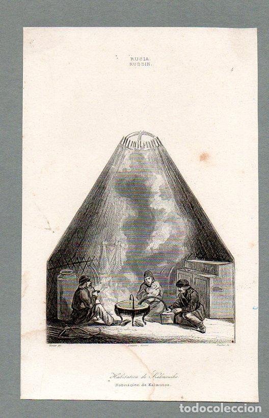 RUSIA - HABITACIÓN DE KALMUCOS - GRABADO LEMAITRE VERNIER CHAILLOT (Arte - Grabados - Modernos siglo XIX)