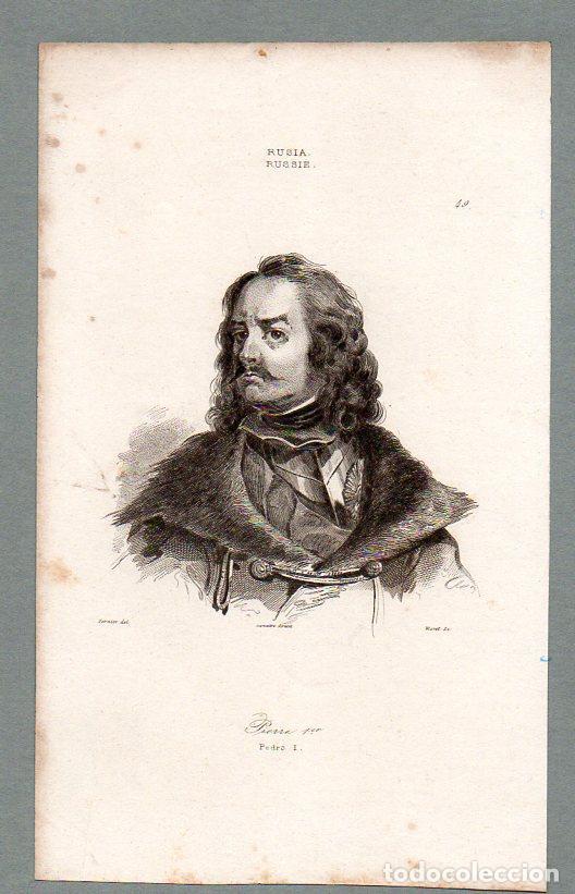 RUSIA - PEDRO I - GRABADO LEMAITRE VERNIER MORET (Arte - Grabados - Modernos siglo XIX)