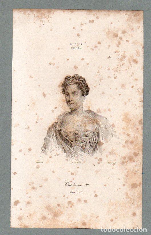 RUSIA - CATALINA I - GRABADO LEMAITRE VERNIER PANNIER (Arte - Grabados - Modernos siglo XIX)