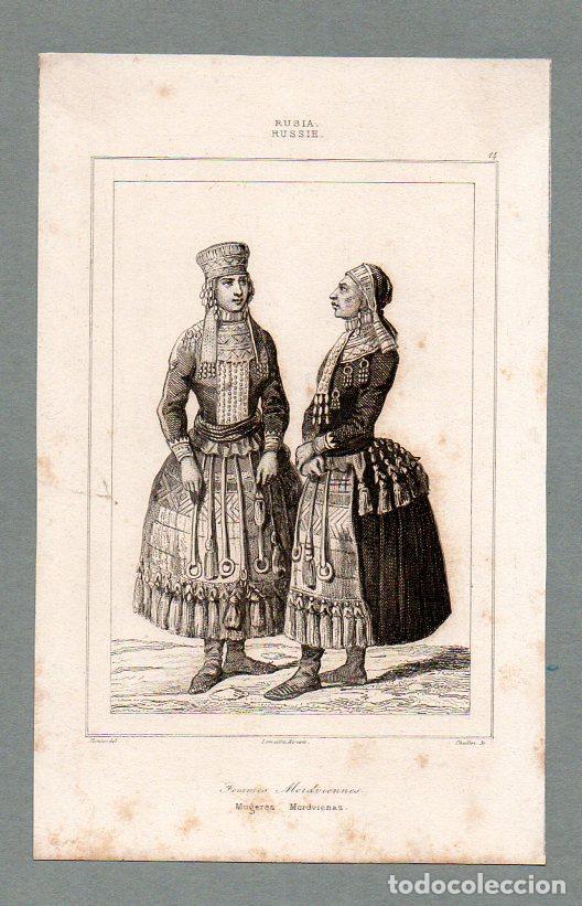 RUSIA - MUJERES MORDVINAS - GRABADO LEMAITRE VERNIER CHAILLOT (Arte - Grabados - Modernos siglo XIX)