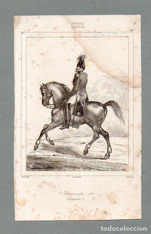 RUSIA - ALEJANDRO I - GRABADO LEMAITRE VERNIER LANGLOIS (Arte - Grabados - Modernos siglo XIX)