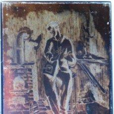 Arte: PLANCHA PARA GRABADO CON SU GRABADO EN PAPEL . FIGURA MASCULINA EN ESPERA. FDO. ALFONSO SANCHEZ TODA. Lote 113602155