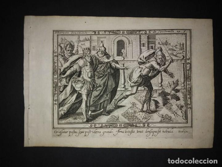 Arte: 8 Grabados EXODUS Jean Le Clerc 1611 Pasajes bíblicos. Judaica - Foto 11 - 114225371