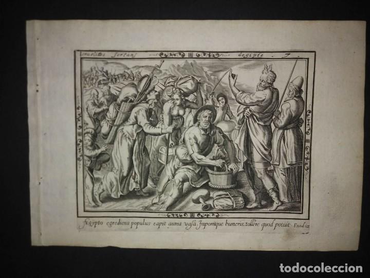 Arte: 8 Grabados EXODUS Jean Le Clerc 1611 Pasajes bíblicos. Judaica - Foto 15 - 114225371