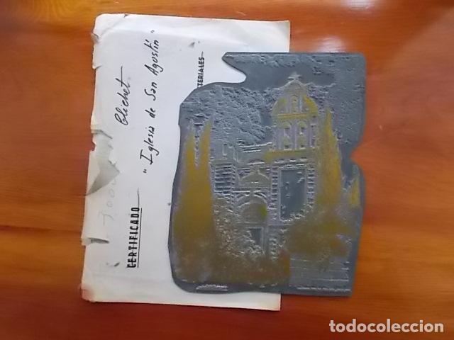 Arte: MATRIZ , PLANCHA ORIGINAL/ IGLESIA DE SAN AGUSTIN / SIGLO XIX FIRMADO FELIX GIL DIAZ - Foto 2 - 114282067