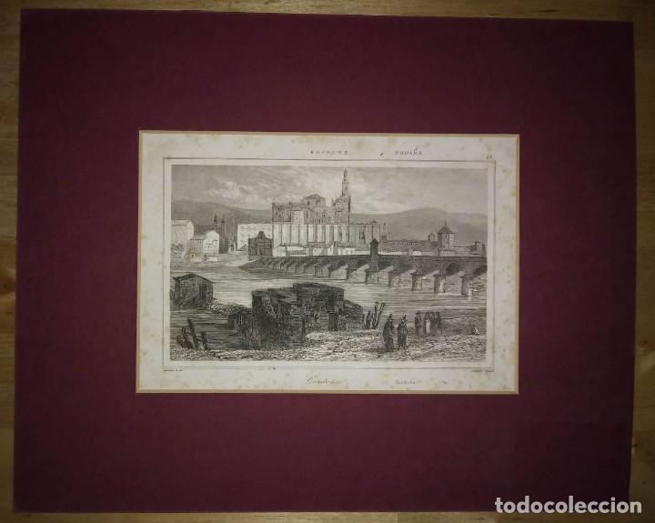 GRABADO CORDOBA. LEMAITRE DIREXIT. GRABADO SIGLO XIX CON PASPARTÚ (Arte - Grabados - Modernos siglo XIX)