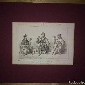 Grabado CONSEJO ÁRABE según una pintura de la Alhambra. Lemaitre Direxit. GRABADO SIGLO XIX