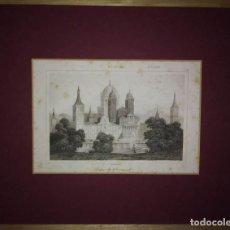 Arte: GRABADO PALACIO DEL ESCORIAL. LEMAITRE DIREXIT. GRABADO SIGLO XIX CON PASPARTÚ. Lote 114523267