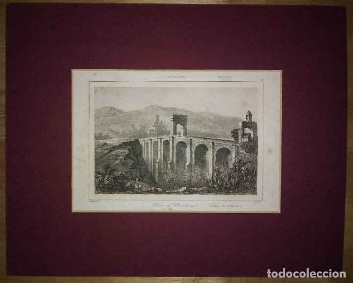 GRABADO PUENTE DE ALCÁNTARA. CACERES, EXTREMADURA. LEMAITRE DIREXIT. GRABADO SIGLO XIX (Arte - Grabados - Modernos siglo XIX)