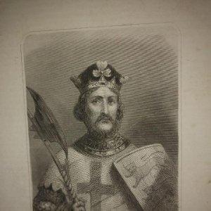 Grabado antiguo de RICARDO CORAZON DE LEON Siglo XIX