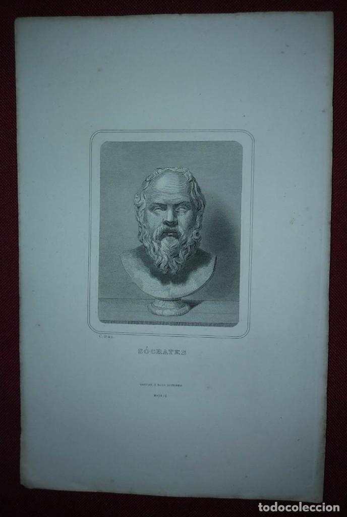 Arte: Grabado SOCRATES Siglo XIX - Foto 2 - 114538683