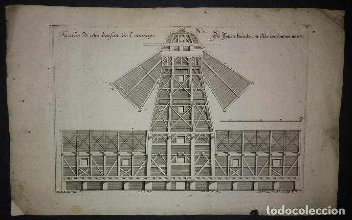 Arte: Plan y delineación de un molino de viento para sostener la madera. 4 grabados - Foto 3 - 114586187