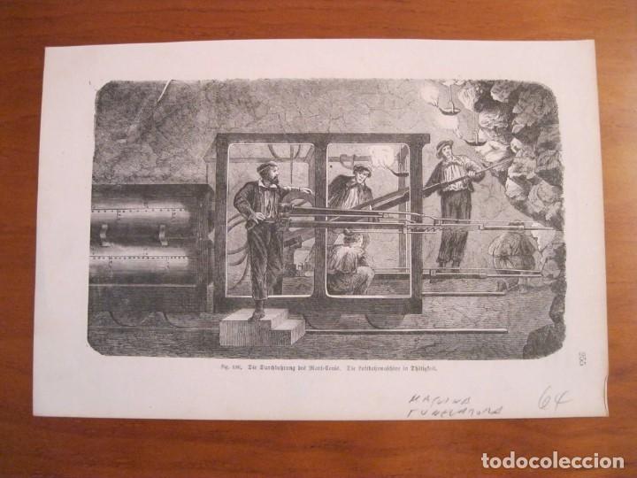 ANTIGUA MÁQUINA TUNELADORA ALEMANA, 1864. ANÓNIMO (Arte - Grabados - Modernos siglo XIX)