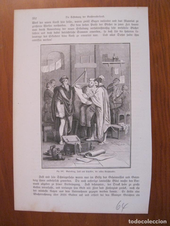 GUTENBERG Y SUS ESTUDIANTES, 1864. ANÓNIMO. (Arte - Grabados - Modernos siglo XIX)