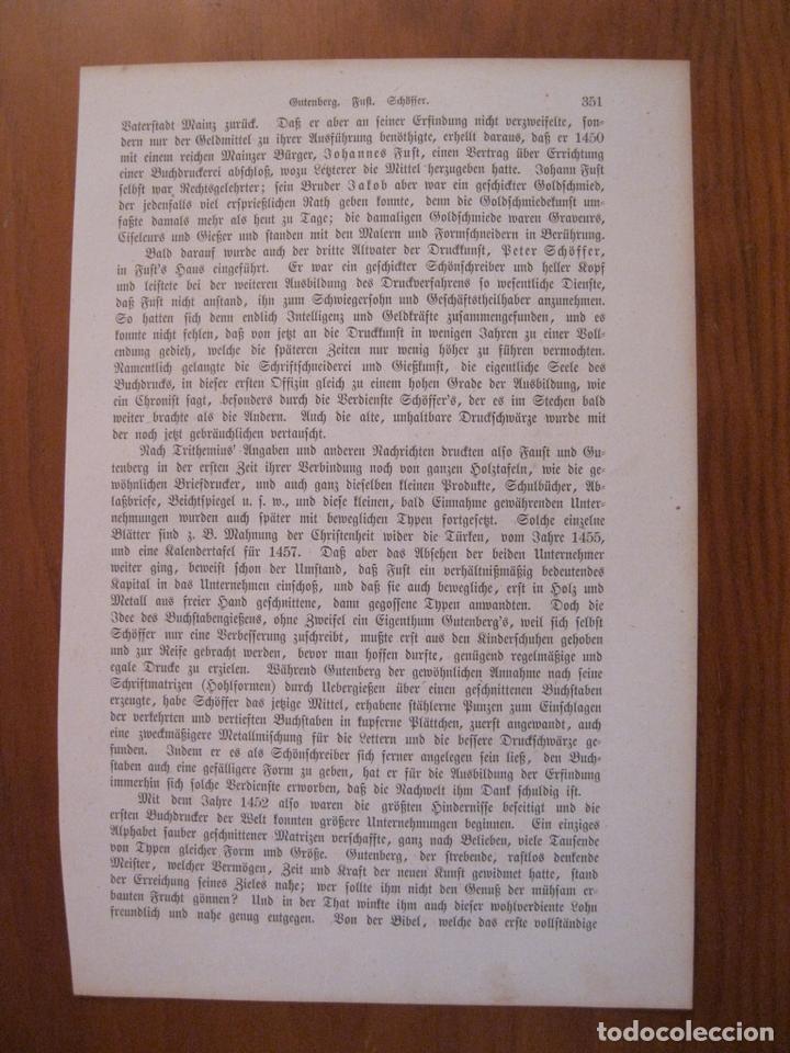 Arte: Gutenberg y sus estudiantes, 1864. Anónimo. - Foto 2 - 114792451