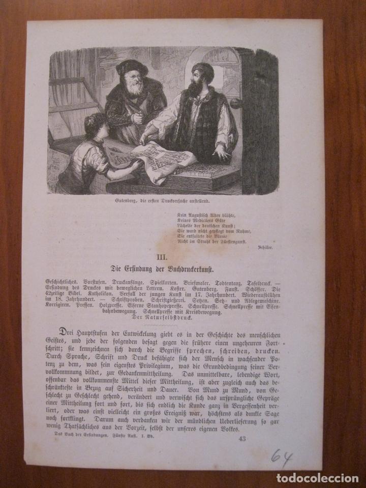 GUTENBERG DESCONCERTADO ANTE LAS PRIMERAS PRUEBAS, 1864. ANÓNIMO (Arte - Grabados - Modernos siglo XIX)