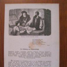 Arte: GUTENBERG DESCONCERTADO ANTE LAS PRIMERAS PRUEBAS, 1864. ANÓNIMO. Lote 114792619