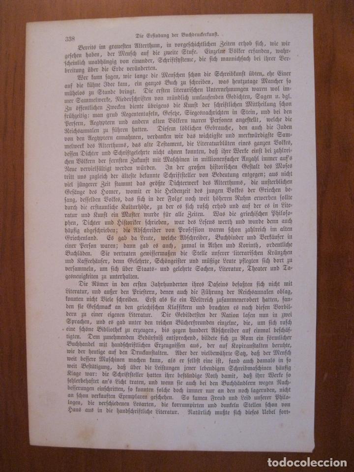 Arte: Gutenberg desconcertado ante las primeras pruebas, 1864. Anónimo - Foto 2 - 114792619