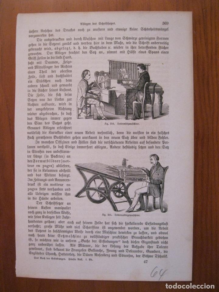 Arte: Antiguas máquinas de escribir, 1864. Anónimo. - Foto 2 - 114792723