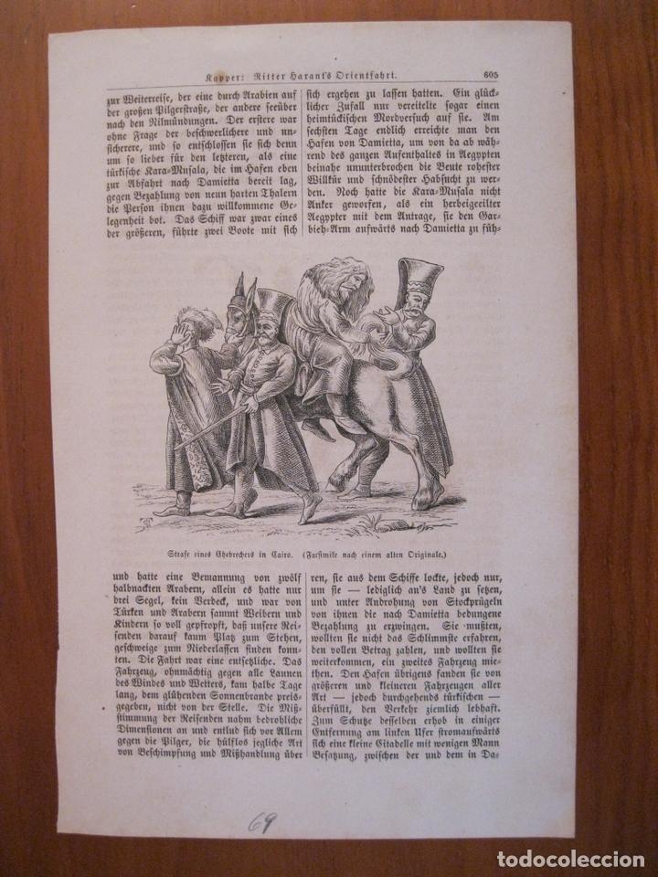 CASTIGO A UN HOMBRE DE NEGOCIOS EN EL CAIRO ANTIGUO (EGIPTO, ÁFRICA), 1869. ANÓNIMO (Arte - Grabados - Modernos siglo XIX)