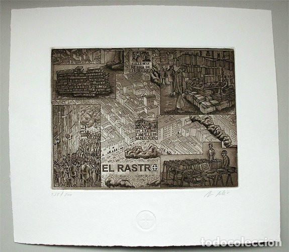 GRABADO DE JORGE PERELLÓN. TITULADO EL RASTRO (Arte - Grabados - Contemporáneos siglo XX)