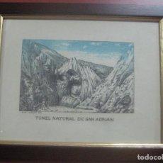 Arte: GRABADO TUNEL DE SAN ADRIAN A COLOR POR EL ARTISTA LEON LAURENT GALAND (1872-1960) FIN DEL SIGLO XIX. Lote 113666095