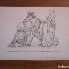 Arte: MUJER HERRANDO A UNA MULA, 1881. ANÓNIMO. Lote 115001731