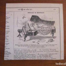 Arte: MUJER DESCANSANDO ENCIMA DE UN PIANO, 1884. ANÓNIMO. Lote 115002467
