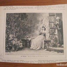 Arte: JOVEN SENTADA A LA PUERTA DE CASA, 1888. ANÓNIMO. Lote 115005515