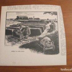 Arte: ALMACENAJE Y TRANSPORTE DE BLOQUES DE TURBA-CARBÓN, 1899. ANÓNIMO. Lote 115191707