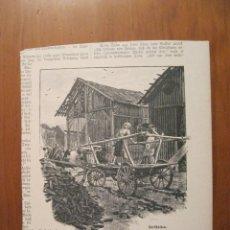 Arte: TRANSPORTE DE TURBA-CARBÓN EN CARRO, 1899. ANÓNIMO. Lote 115192099