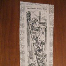 Arte: OBREROS SUBIENDO MATERIAL PARA LA CONSTRUCCIÓN, 1884. ANÓNIMO. Lote 115192787