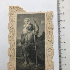 Arte: ESTAMPA RELIGIOSA CALADA. S. CHRISTOPHORUS. EDITADA EN ALEMANIA? FINALES S. XIX. Lote 115290316