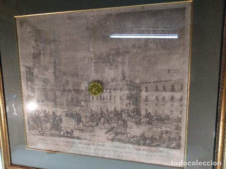 IMPORTANTE GRABADO HISTÓRICO - TROPAS DEL GENERAL ÁLAVA EN VITORIA EL 21 DE JUNIO DE 1813 - ORIGINAL (Arte - Grabados - Modernos siglo XIX)