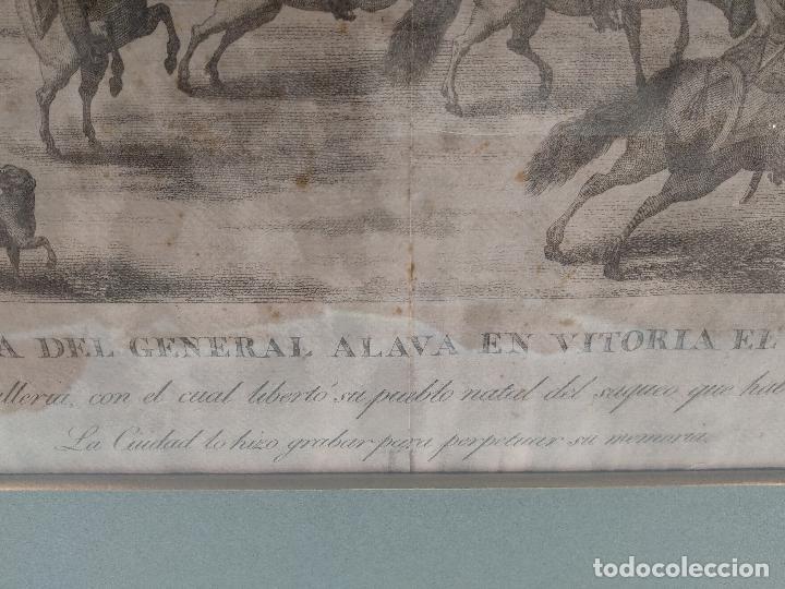 Arte: IMPORTANTE GRABADO HISTÓRICO - TROPAS DEL GENERAL ÁLAVA EN VITORIA EL 21 DE JUNIO DE 1813 - ORIGINAL - Foto 3 - 115376011