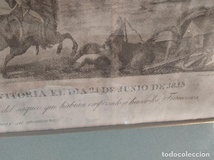 Arte: IMPORTANTE GRABADO HISTÓRICO - TROPAS DEL GENERAL ÁLAVA EN VITORIA EL 21 DE JUNIO DE 1813 - ORIGINAL - Foto 4 - 115376011