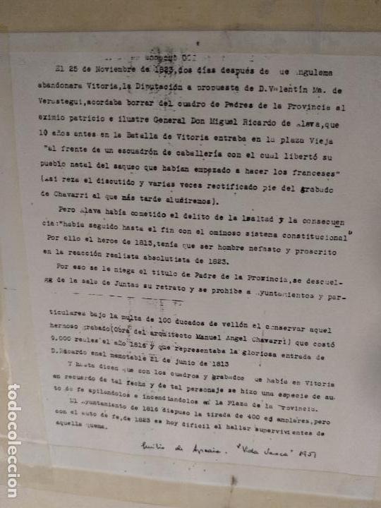 Arte: IMPORTANTE GRABADO HISTÓRICO - TROPAS DEL GENERAL ÁLAVA EN VITORIA EL 21 DE JUNIO DE 1813 - ORIGINAL - Foto 19 - 115376011