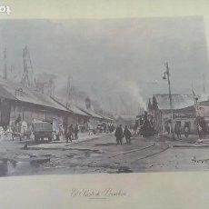 Arte: GRABADO ACUARELA PUERTO DE BARCELONA GUILLEM FRESQUET AÑO 1.959. Lote 115455403