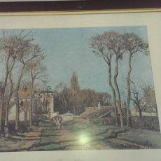 Arte: GRABADO PINTURA ENTREE DE VILLAGE CAMILLE PISARRO AÑO 1.872 MUSEO LOUVRE PARIS. Lote 115457647