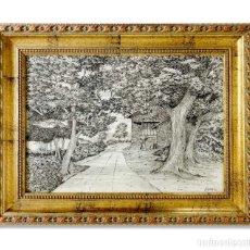 Arte: PAISAJE ASTURIANO CON HORREO A PLUMILLA. ENMARCADO Y FIRMADO. 65X50. Lote 115458707
