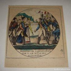 Arte: GRABADO DE CÁDIZ. FIN DEL TRIENIO LIBERAL. RENDICIÓN DE CÁDIZ ANTE EL DUQUE DE ANGULEMA. 1823. RARO.. Lote 115799051